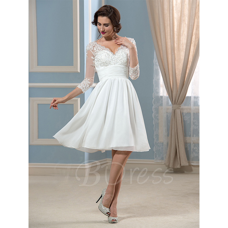 Lace v neck three quarter sleeve knee length short wedding for Flowy wedding dress with sleeves