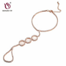 DANZE Fashion Hand Harness Slave Bracelet & Adjustable Finger Ring Women Hollow Out Crystal Rhinestone Chain Link Jewelry Set(China)