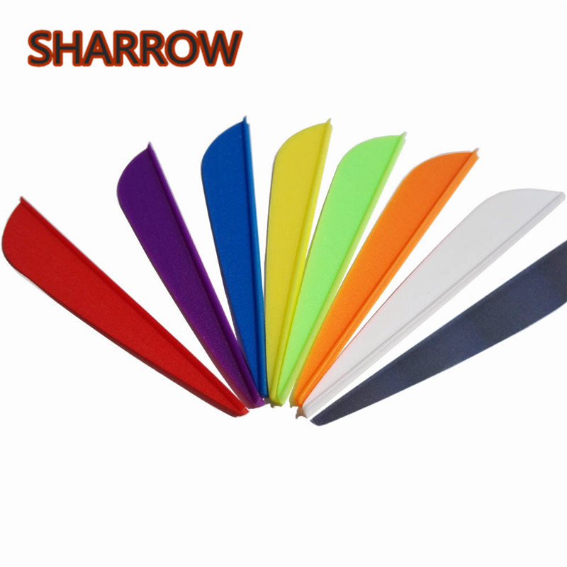 50Pcs Archery 3 Inch Rubber Feather 8 Colors Fletched Plastic Fletch Vanes For Compound Recurve Bow Shooting Hunting Accessories