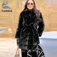 Furealux Natural Real Mink Fur Coat Mink Fur Coat Genuine Leather Whole Skin Fur Jackets Black Hot Sale