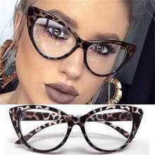 Lunettes en œil de chat pour femmes, verres optiques vintage, pour ordinateur, marque à la mode, léopard, verres transparents