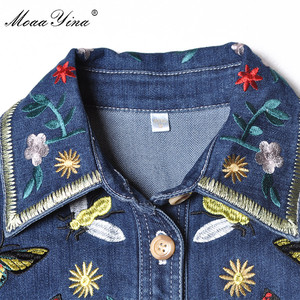 Image 4 - MoaaYina מסלול מעצב אופנה באיכות גבוהה קאובוי מעיל רוח ארוך שרוול רקמת Sashes מקרית בציר קאובוי מעיל