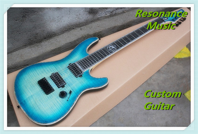 100% Real Pictures Neck Through Body Transparent Jeans Blue Flame Mayones Regius 7 Strings Electric Guitar