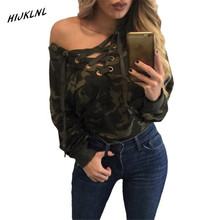 HIJKLNL womens long sleeve polo shirt New green V collar with long sleeves camouflage casual polo ladies shirt  JX210