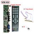 Suporte 7-55 polegada Painel V56 Universal TV LCD Placa de Driver de Controlador de PC/VGA/HDMI/USB placa de Interface + 7 chave IR + set