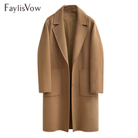 5xl Plus Size Design Black Camel Wool Coat Women Thick Warm Vintage Turn down Collar Jacket Blend Long Sleeve Lapel Button Coats
