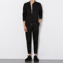 Free delivery 2017 Mens Black Long Sleeved Jumpsuit Male Elegant Cool Overalls Summer Hip-Hop Rompers Harem Bib Pants 041605
