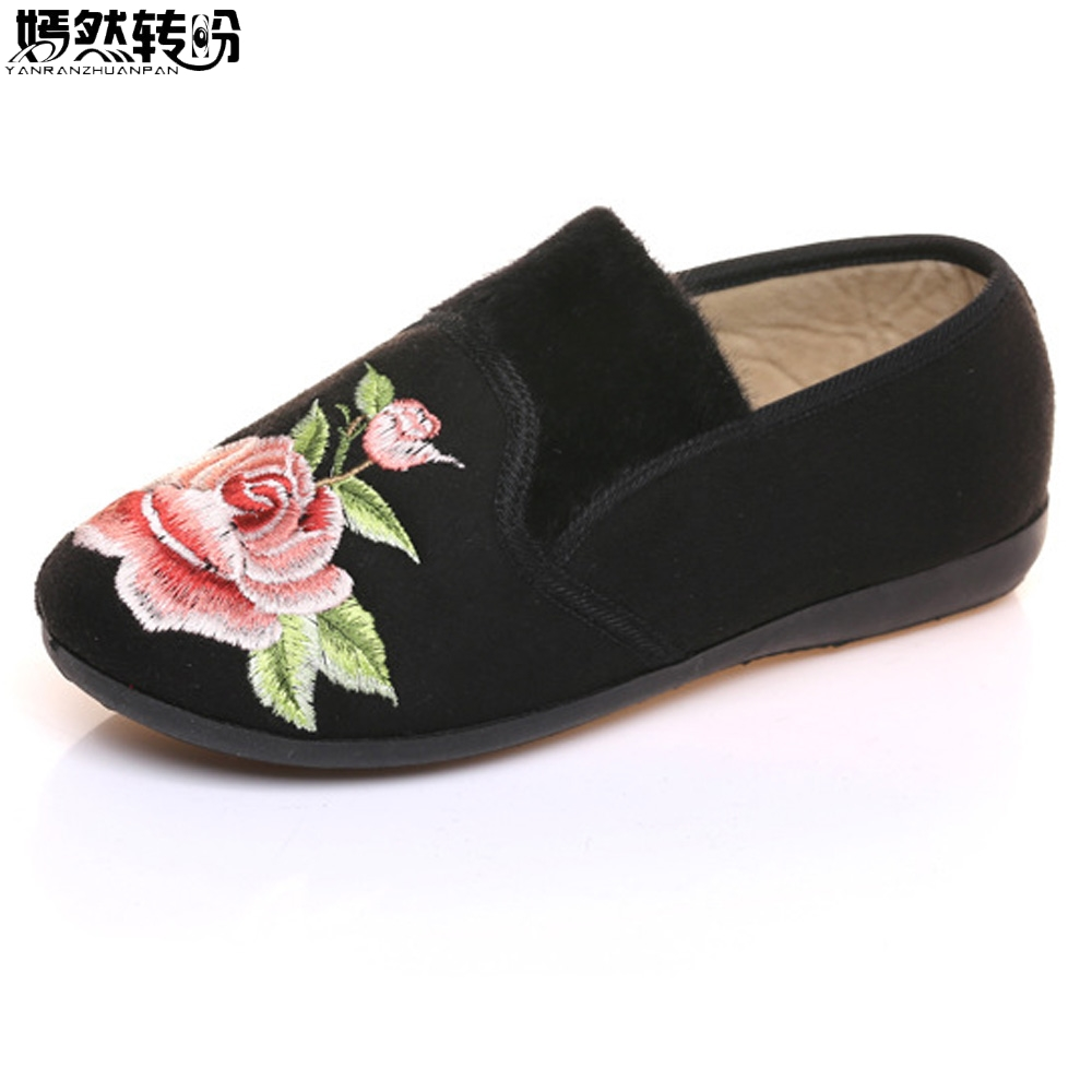 Winter New Women Flats Shoes Cotton Velvet Warm Floral Embroidered Cloth Slip On Ballets Soft Black Shoes Woman Sapato Feminino fashion womens shoes warm winter cotton shoes tennis feminino casual girl shoes comfortable ladies flats long plush women flats
