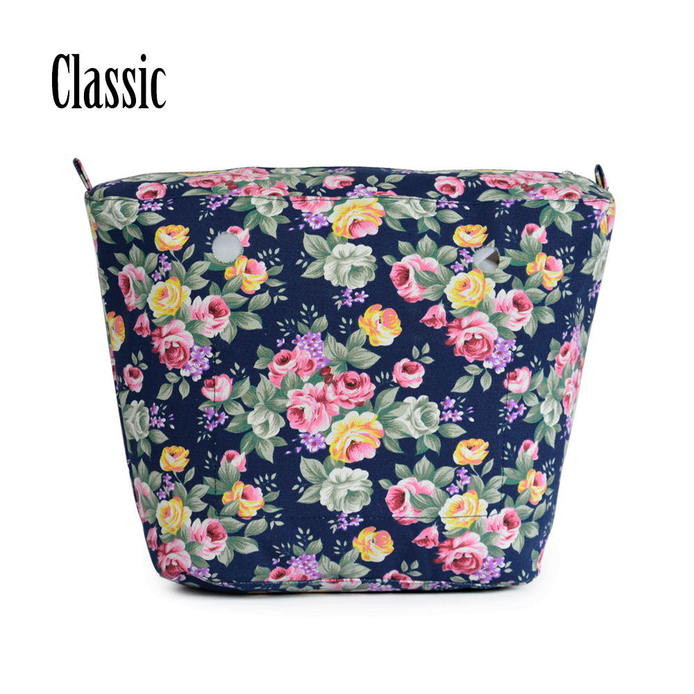New Cartoon floral cute Insert Lining Inner Pocket for Classic Big Obag O Bag Women's Bags Totes Handbags new flower printed insert inner zip pocket canvas plus handles companition for classic obag o bag women s handbags