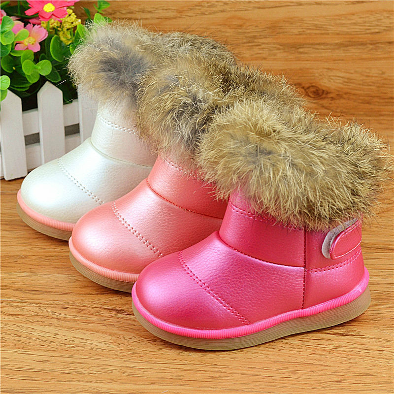 Meisjeslaarzen Winter Waterdicht Antislip Rubber Platte schoenen met Snowboots Peuter Kinderschoenen Dikker Pluche Enkel Warme Schoenen EUR 21-30