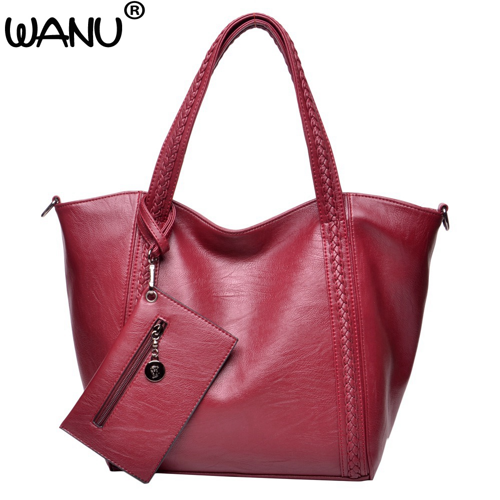 WANU Brand New high quality women Composite bag Female leather shoulder bags luxery handbags for women wife gifts soft woman bag high quality tote bag composite bag 2
