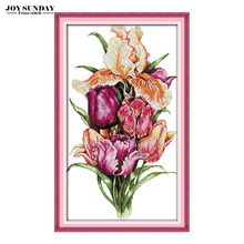 Joy Sunday Noble Tulips DIY Handwork Floral Paintings Counted Cross Stitch Kit 14CT11CT DMC Embroidery kit Needlework Home Decor