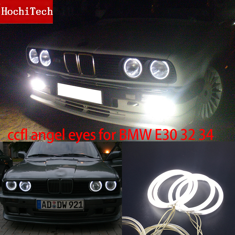 HochiTech WHITE 4pcs 120mm CCFL Headlight Halo Angel Demon Eyes Kit Angel Eyes Light For BMW E30 E32 E34 1984-1990