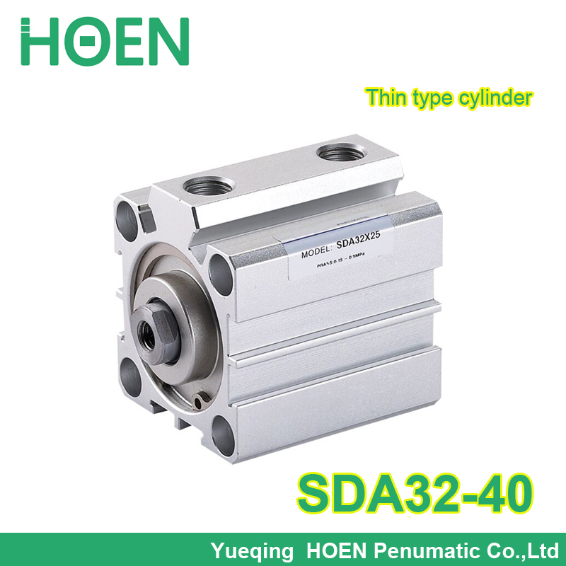 SDA32-40 sda series 32mm Bore 40mm Stroke 1/8 Port Pneumatic Compact Cylinder SDA32*40 Aluminum Alloy Thin Type Air Cylinders cq2kb40 5dz aluminum compact cylinder bore 40mm stroke 5mm