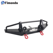 Metal Front Bumper With Lamp Guard And Trailer Hook for 1/10 RC Crawler Car Axial SCX10 Traxxas TRX4 CC01 D90 Upgrade Parts