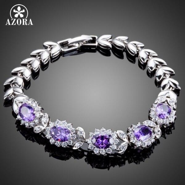 AZORA Wheat Design With 5pcs Flower Shape Purple Cubic Zirconia Flower Bracelet for Women TS0117