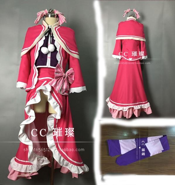 Re:Life in a Different World from Zero Re:Zero kara Hajimeru Isekai Seikatsu Beatrice Cosplay Costum red costume with socks