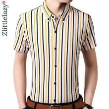 2018 vertical striped men shirt clothing social short sleeve summer formal fashions shirts mens dress casual slim fit clothes