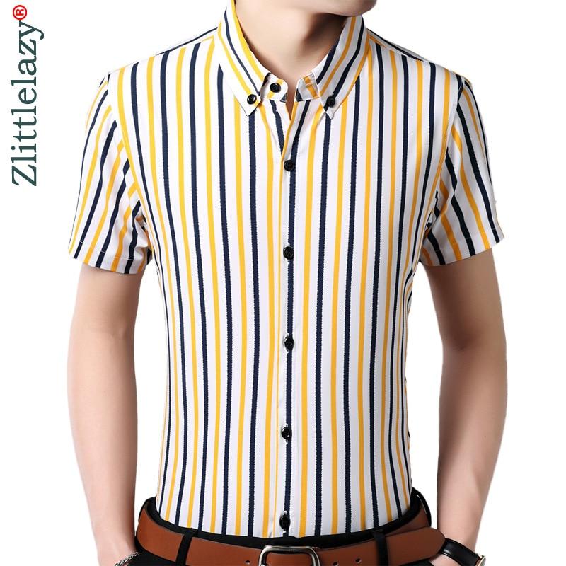 bastante baratas nueva estilos estilos frescos € 10.85 48% de DESCUENTO|2019 camisa de rayas verticales para hombre ropa  de verano de manga corta formal de moda camisas para hombre vestido casual  ...