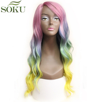 SOKU Ombre Pink Synthetic Lace Front Wigs Body Wave Side Part Kanekalon Hair Wig Long Wavy Rainbow Colorful Lace Wigs For Women