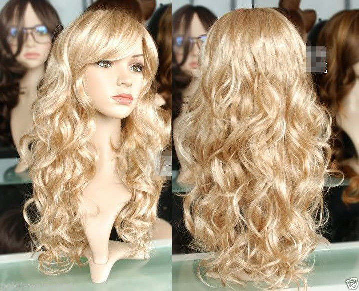 Harajuku Cosplay Wig Party Women Sexy Long Curly Costume Synthetic Hair Ladies Blonde Wigs Female Peruca Pelucas