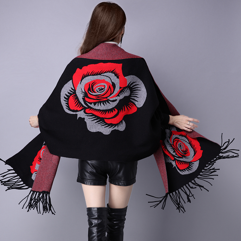 Women   Scarf   Winter Women   Scarves   Long   Wrap   Shawl Thick Warm Cashmere Wool Flower Poncho Solid Women's   Scarf   Cape with Sleeves