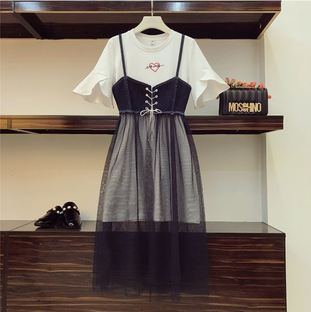 2018 New Fashion Summer Women Girls Letter Embroidery Long T Shirt + Sling Denimy Mesh Dress Two Piece Students Dress Set by Chimavvi