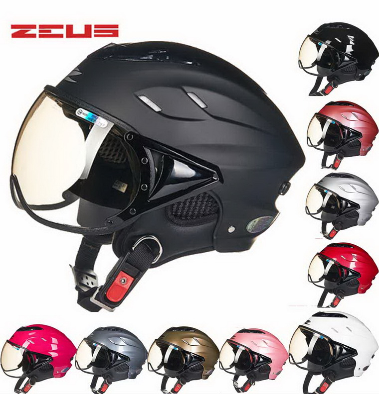 2018 Fashion ZEUS Half Face Motorcycle Helmet ABS Half-covered Seasons Retro Electric Bike Unisex Women Helmets Goggles Anti-UV