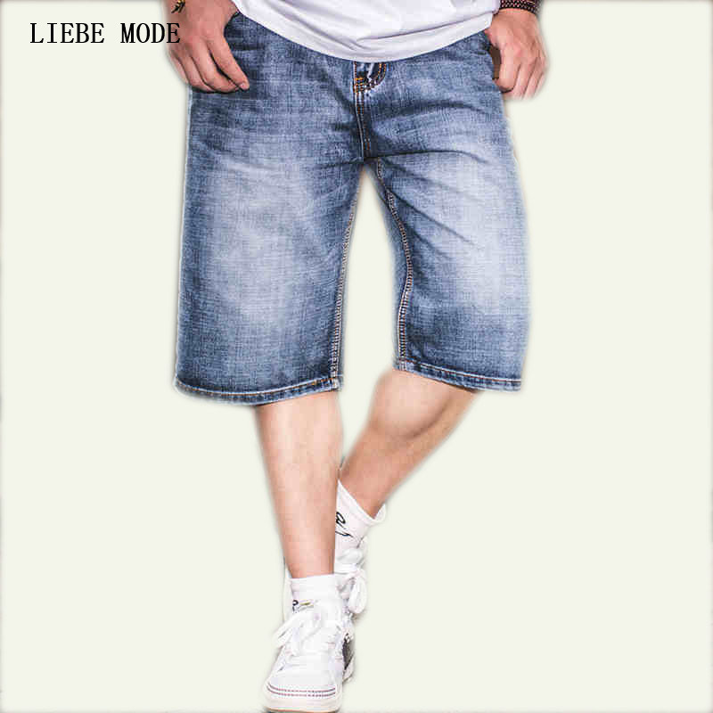2017 Summer Mens Straight Regular Fit Jean Shorts Big Size Men Denim Shorts Plus Size 36 38 40 42 44 46 size 36 46 men