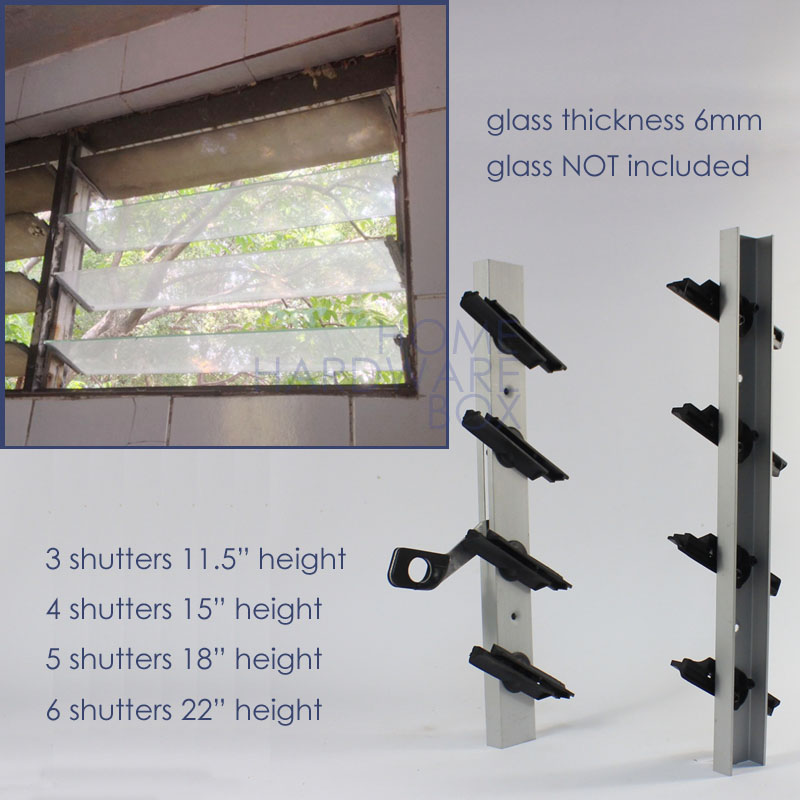 6 Shutters Pair Of Jalousie Window Frame Aluminum Glass