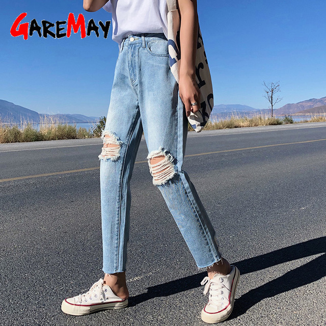 520fe2a767a Ripped Jeans For Women Plus Size Loose Boyfriends Harem Female Jeans With  Holes On The Knees Summer Women s Jean Femme