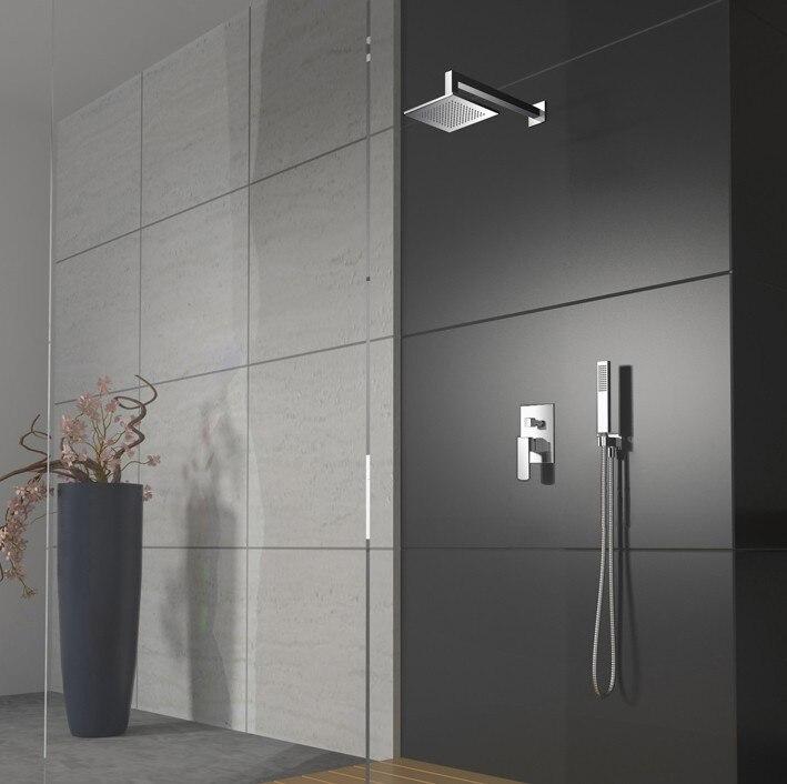 Livraison gratuite ensemble de douche de pluie dans le mur de haute qualité + douche de tête de 12 pouces + douche à main + tuyau de douche B-8812