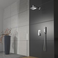 free shipping High quality In wall rainfall shower set +12 inch head shower+hand shower+shower hose B 8812