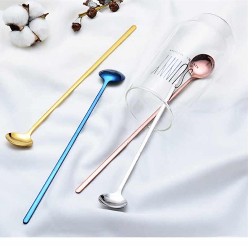 Stainless Steel Soup Spoon Colored Metal  Long Handle Ice Spoon Coffee Tea Stirring spoon Home Kitchen Tableware Spoon