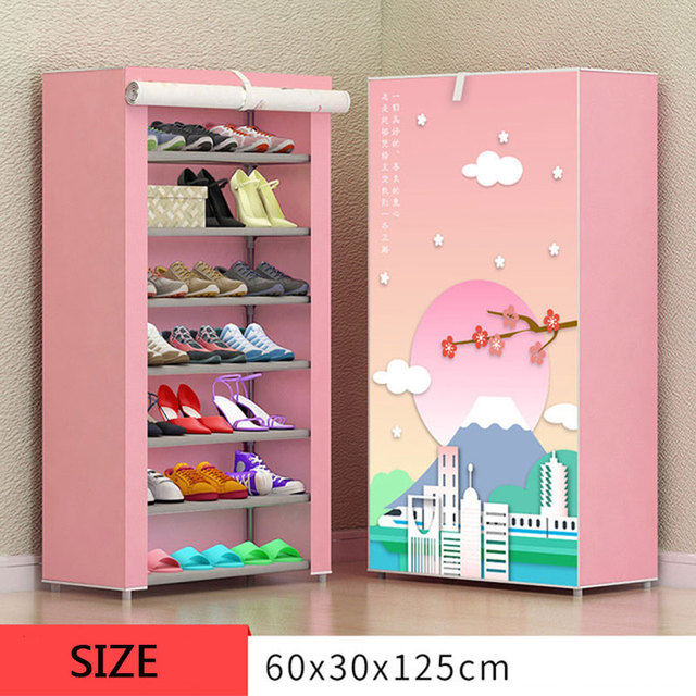 8 Layer 10 Layer Combination Shoe Cabinet Simple Cloth Fabric Storage Shoes Rack Folding Dust-proof Shoe Shelf DIY Furniture 3