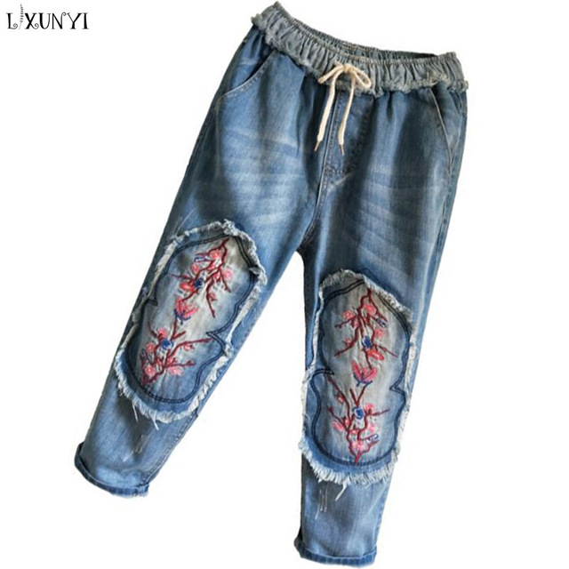 0ff30cf565e LXUNYI 2019 Summer Loose Jeans Women Plus Size Patch Patchwork Embroidery  jeans With high Waist Casual Haren Capri Pants femme