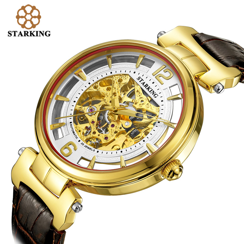 STARKING 2016 Luxury Brand Skeleton Automatic Mechanical Watches Retro Men Leather Wristwatches Male Relogio Masculino AM0200 2016 winner watches women lady luxury brand skeleton automatic mechanical wristwatches artificial leather band relogio feminino