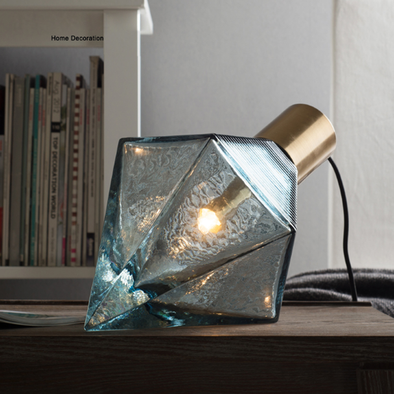 Nordic minimalist artificial blown stained glass desktop decorative lighting creative blue diamond design LED bedroom table lamp