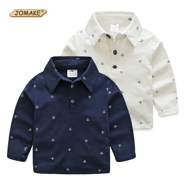 Meninos T-shirt 2017 Primavera Outono Crianças Roupas de Marca Completa de Âncoras Impresso Roupa Dos Miúdos Meninos Cavalheiro Camisas de T para 2-10 Anos