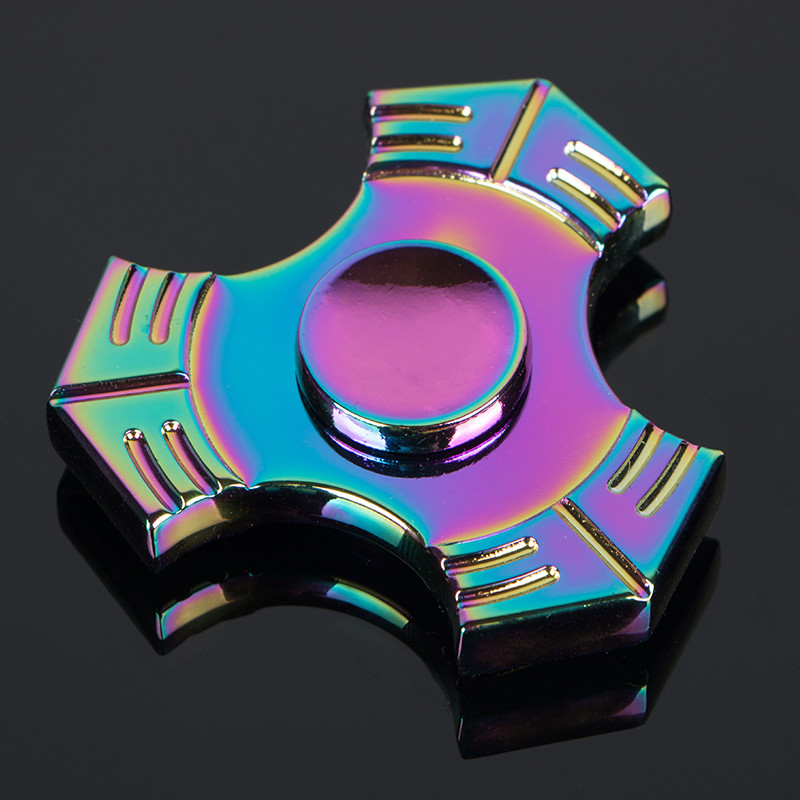 NEW Colorful Tai Chi Tri-Spinner Fidget Toy Metal Hand Spinner For Autism And ADHD Children Adults Focus Rotation Time Long
