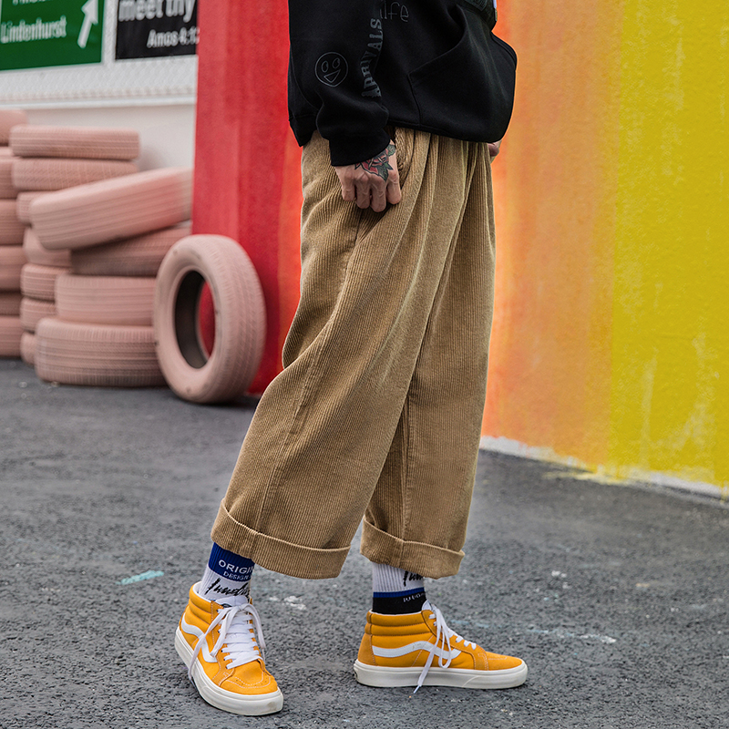Corduroy Wide Leg Pants Men Women Streetwear Hip-hop Casual Pants Men 2019 Japanese Elastic Waist Loose Soild Color Baggy Jogger