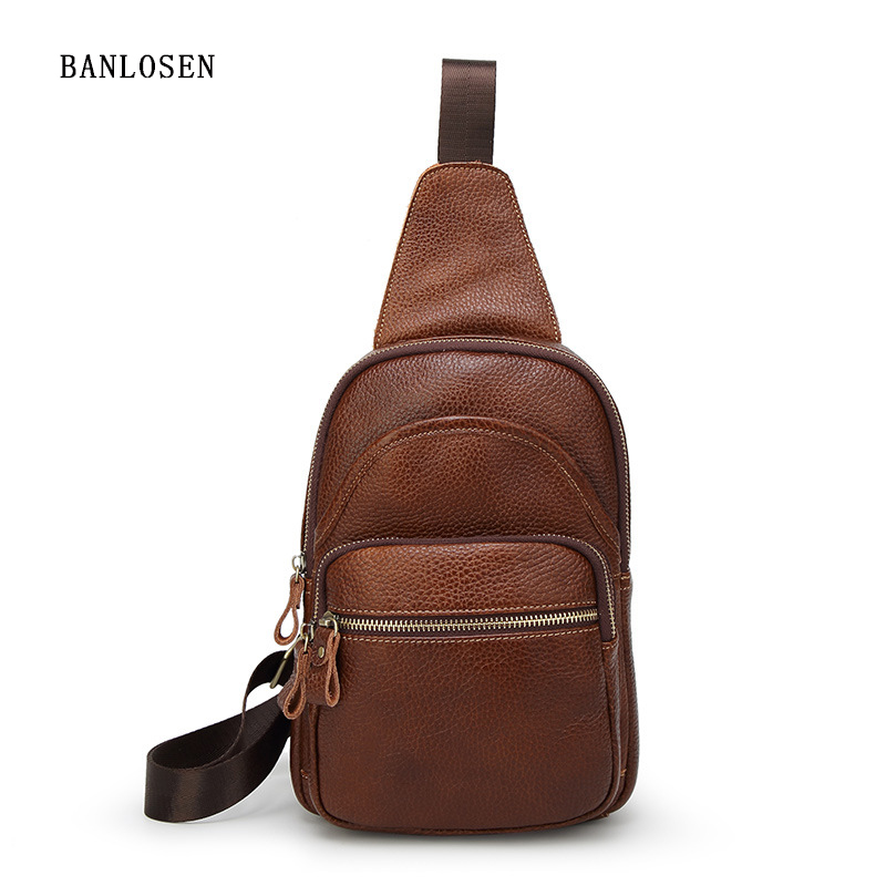 Genuine Leather Casual Cowhide Chest Pack England Style Men Mobile Bag Men