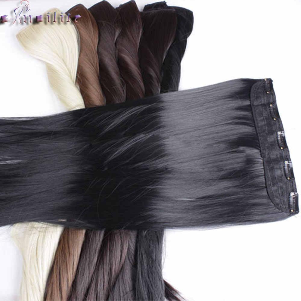 S-Noilite Lange Clip In Een Stuk Hair Extensions Zwart Bruin Blond 5 Clips In Haarverlenging Synthetisch Natuurlijke haar Haarstukje
