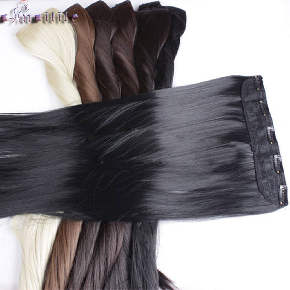 S-noilite Long Clip In One Piece Hair Extensions Black Brown Blonde 5 Clips In Hair Extension Synthetic Natural Hair Hairpiece