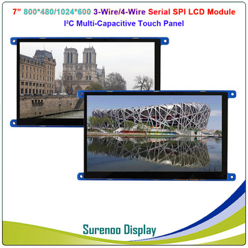 7 7.0 Inch 1024*600 800*480 3-Wire/4-Wire Serial SPI TFT LCD Module Display Screen With I2C Capacitive Touch Panel