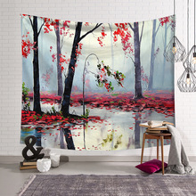 Beautiful Landscape Forest Tapestry Wall Hanging Room Decor decoración hogar Beach Mat Picnic Blanket Tablecloth Home Decorative