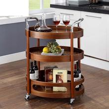 Передвижная тележка для обеденной машины из цельного дерева, изогнутая деревянная домашняя кухонная чайная тележка, маленький чайный столик для отеля, коммерческая трехуровневая Винная Корзина