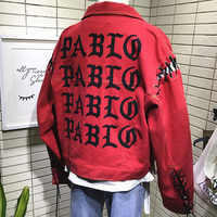 2017 Nowy Streetwear List Wydrukowano Rękawy Liny Kobiet Kurtka Dżinsowa moda Nowy Typ Czerwony Kolor Kobiety Podstawowe Płaszcz Fajne Denim kurtka