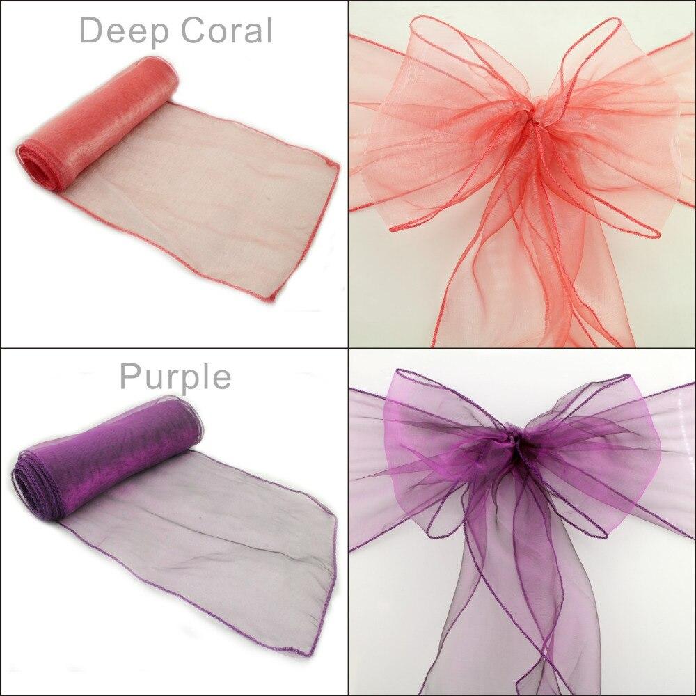 50pcs wedding chair sashes sash cadbury purple organza chair sashes