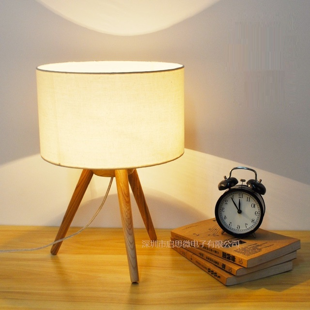 Modern table lamp wooden base book lights desk night light e27 ...